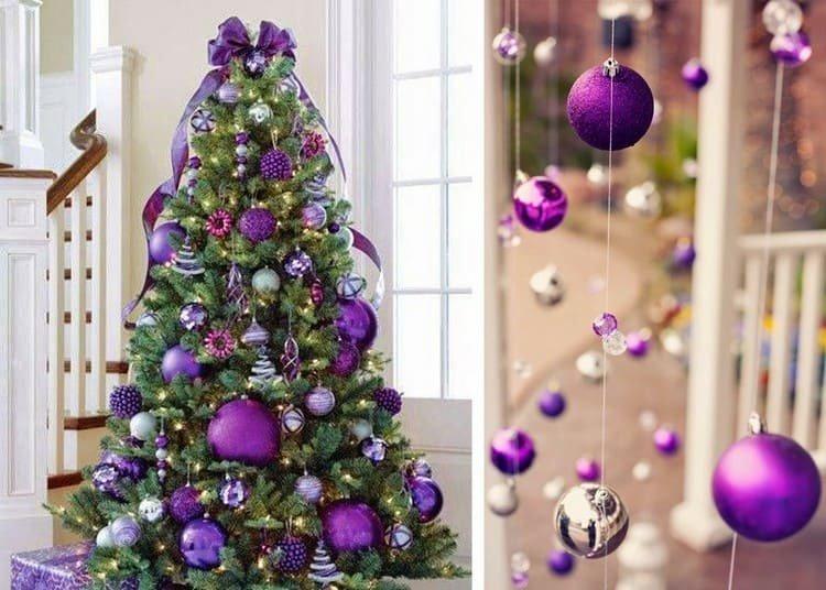 Елка в фиолетовых тонах