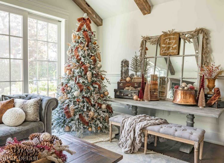 Украшение елки в стиле кантри
